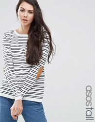 Asos Tall Jumper In Stripe With Oval Tan Elbow Patch Navy White Multi
