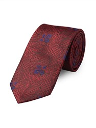 Paul Costelloe Red Paisley Houndstooth Tie