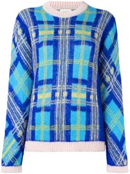 Delpozo Glitter Checked Pattern Jumper Blue