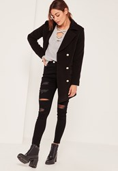 Missguided Tall Black Short Faux Wool Military Coat