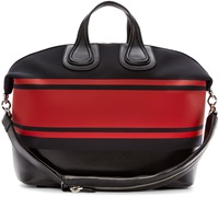 Givenchy Black And Red Striped Neoprene Nightingale Tote