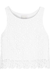 Miguelina Rosi Cropped Cotton Guipure Lace Top White