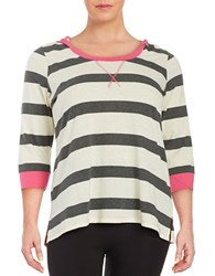 Marc New York Striped Hooded Top White Multi