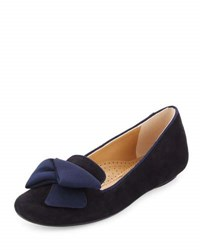 Neiman Marcus Bow Smoking Suede Loafer Blue