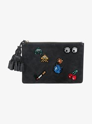 Anya Hindmarch Georgiana Space Invaders Crystal And Suede Clutch Multi Coloured Black
