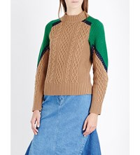 Sacai Cable Knit Wool Jumper Camel Green