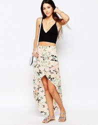 Pussycat London Wrap Front Skirt In Butterfly Print Cream