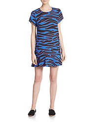 The Fifth Label Bright Young Things Camo Print Shift Dress Blue Camo
