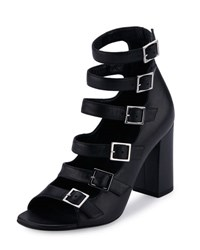 Saint Laurent Leather Babies Multi Strap 90Mm Sandal Black Noir