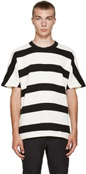 08Sircus Ivory And Black Striped T Shirt