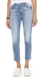 7 For All Mankind Cropped High Waisted Straight Leg Jeans Light Blue Hue