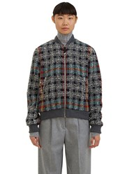 Acne Studios Azura Checked Tweed Bomber Jacket Grey