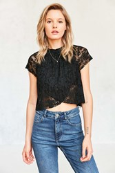 Kimchi And Blue Kali Pleated Lace Mock Neck Tee Black