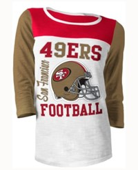 5Th And Ocean Women's San Francisco 49Ers Three Quarter Glitter T Shirt Red