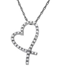 Lord And Taylor Diamond Heart Pendant In White Gold