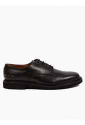 Common Projects Men's Black Matte Leather Cadet Derby Shoes