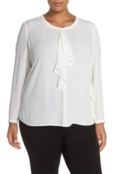 Sejour Plus Size Women's Ruffle Front Blouse Ivory Cloud