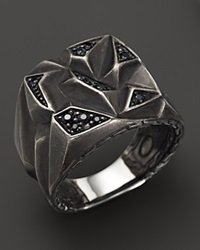 John Hardy Men's Classic Chain Silver Lava Square Ring With Black Sapphire Silver Multi