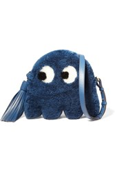 Anya Hindmarch Ghost Shearling And Leather Shoulder Bag Blue