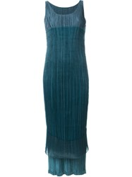 Issey Miyake Vintage Double Layer Pleated Dress Green
