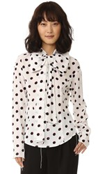 Marc Jacobs Long Sleeve Shirt With Bow Ivory Multi