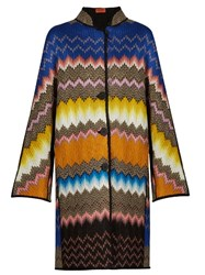 Missoni Button Down Zigzag Knit Coat Multi