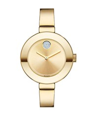 Movado Ladies Mid Size Stainless Steel Bangle Bracelet Watch Gold