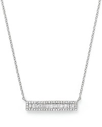 Bloomingdale's Diamond And Baguette Bar Pendant Necklace In 14K White Gold .30 Ct. T.W.