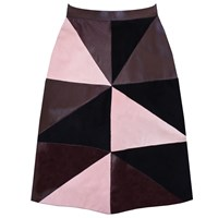 Florence Bridge Maisie Patchwork Leather Skirt Pink Purple
