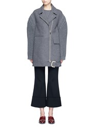 Stella Mccartney Cable Knit Sleeve Felted Wool Blend Coat Grey