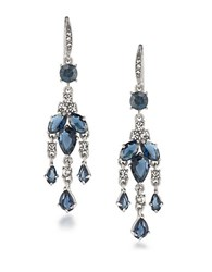 Carolee Silvertone Brass Mini Chandelier Earrings Blue