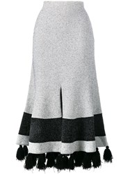 Proenza Schouler Flared Tasseled Skirt White