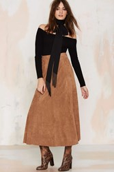 Nasty Gal Trailblazer Vegan Suede Maxi Skirt