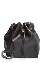 Sole Society 'Nevin' Faux Leather Drawstring Bucket Bag Black