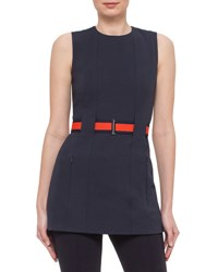 Akris Punto Sleeveless Belted Jersey Tunic Navy