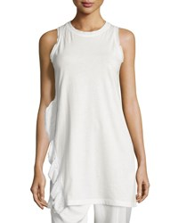 3.1 Phillip Lim Sleeveless Ruffle Trim Long Tank Antique
