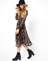 Asos Covered Button Dress In Vintage Floral Multi