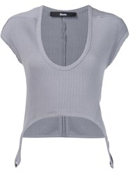 Musee Ribbed Scoop Neck T Shirt Grey