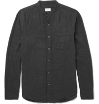 Club Monaco Grandad Collar Cotton Shirt Gray