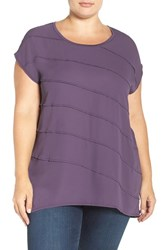 Sejour Plus Size Women's Mixed Media High Low Tee Purple Night