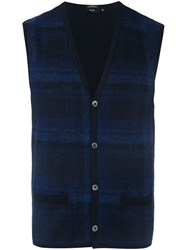 Hugo Boss Plaid Cardigan Vest Blue