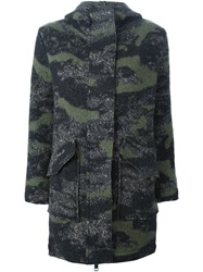 Diesel Camouflage Hooded Coat Green