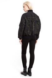 G.V.G.V. Ma 1 Velvet Lace Up Bomber Jacket Black