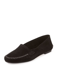 Manolo Blahnik Speed Suede Moccasin Flat Black Crosta Blk Suede
