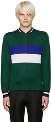 Paul Smith Green Merino Houndstooth Sweater
