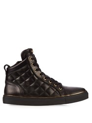 Balmain Quilted High Top Leather Trainers Black Multi
