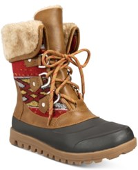 Bare Traps Yaegar Lace Up Cold Weather Booties Women's Shoes Whiskey