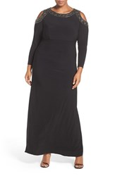 Xscape Evenings Plus Size Women's Embellished Cold Shoulder Shirred Jersey Gown