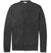 Tomas Maier Slim Fit Merino Wool Cardigan Gray