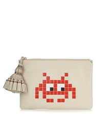 Anya Hindmarch Georgiana Space Invaders Leather Clutch Grey Multi